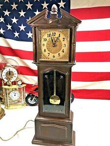 Vintage-Lux-Mini-Grandfather-Strike-Clock-Mantel-Plastic-Wood-Tone-Electric