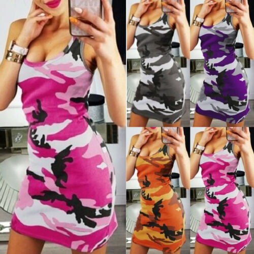 Womens Camouflage Military Bodycon Dress Sleeveless Summer Pencil Mini Dresses