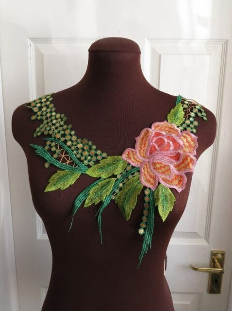 1 Colourful, tropical guipure lace embroidered neck trim applique FROM UK