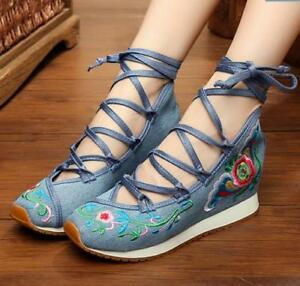 6c0b33176c0c Women s Embroidery Floral Canvas Wedge Heel Chinese Style Pumps ...