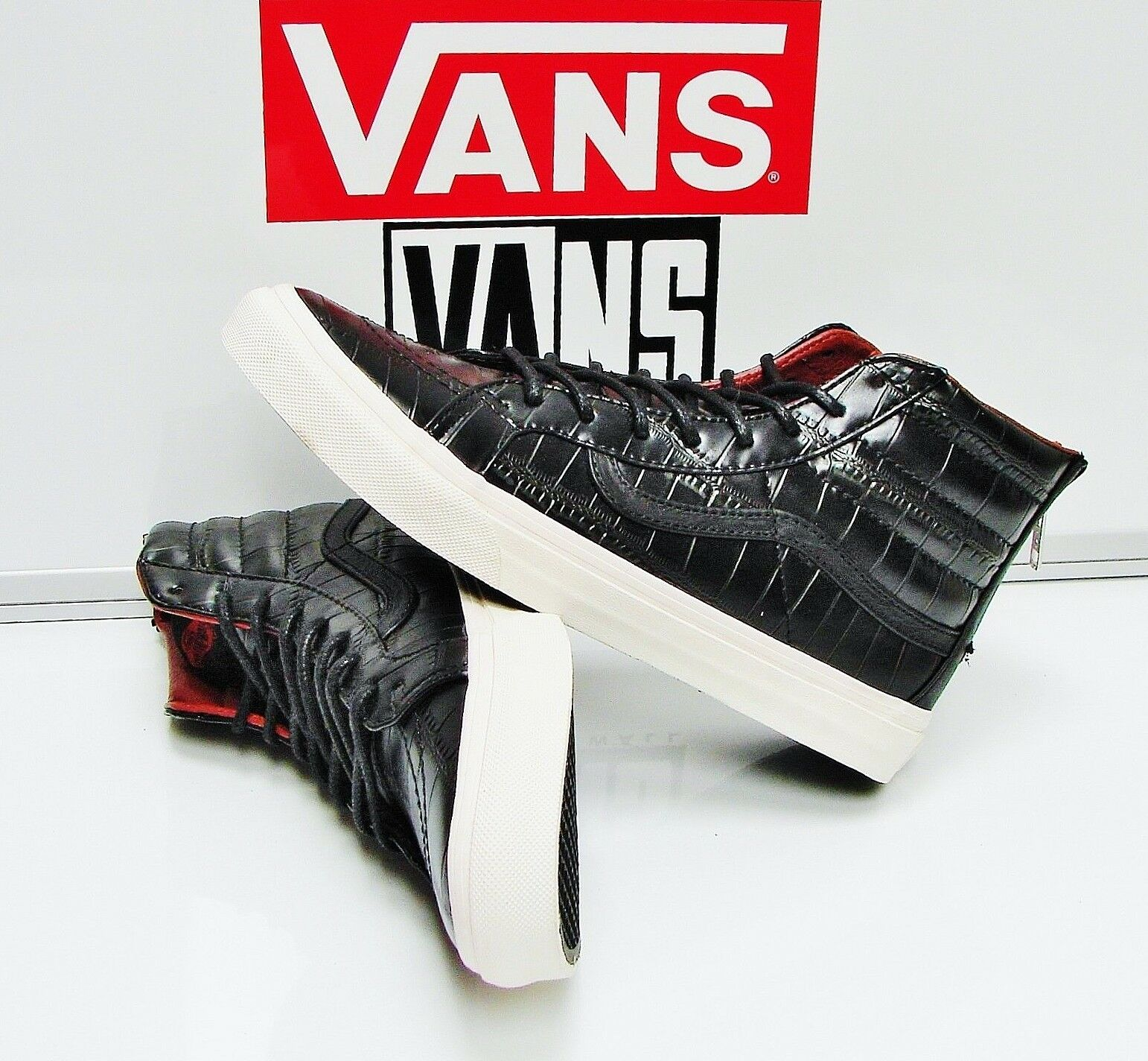Vans SK8-Hi Slim Zip (Crocodile Leather)Black VN-000XH8FCQ Men's Size: 7