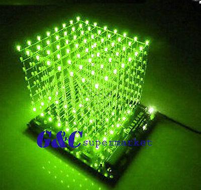 3D LightSquared DIY Kit 8x8x8 3mm LED Cube Green Ray LED M114