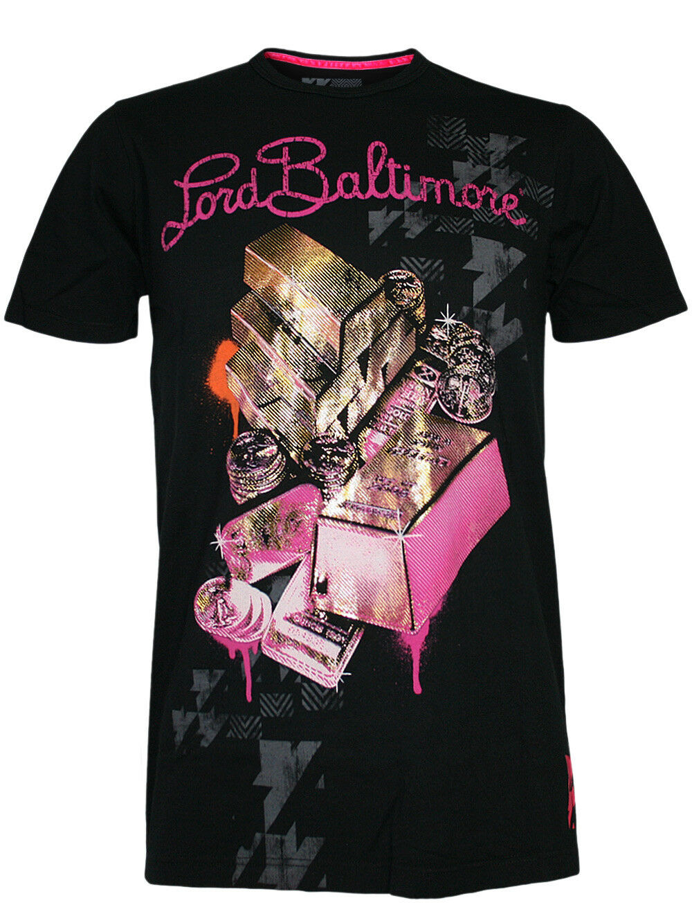Lord Baltimore Uomo Maglietta   Big Baller   in Nero By Ciabatte ed Hardy