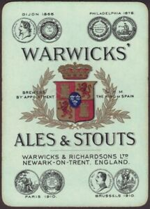 Playing-Cards-Single-Card-Old-Wide-WARWICKS-Brewery-ALES-STOUT-BEER-Advertising