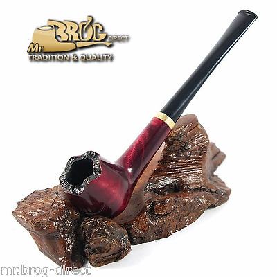 "OUTSTANDING Mr.Brog original smoking pipe nr.19 SPRING LEAF ""LONDON "" Rubin"