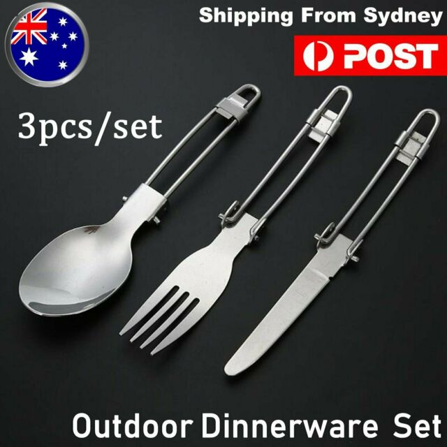 Camping Picnic Traveling Outdoor Foldable Stainless Steel Spoon Fork  Au shippin