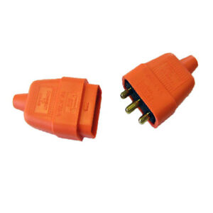 3-Pin-Rubber-Orange-10A-Plug-amp-Socket-Power-Connector