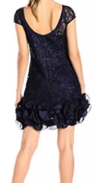 d77175063510b4 Jessica Simpson Women s Short Sleeve Lace Ruffle Hem Dress Size 6 Black PROM