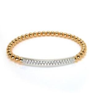 0-55-TCW-Round-Cut-Diamonds-Ball-Bead-Stretch-Bracelet-In-14k-Two-Tone-Gold