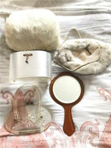 Antique-Bakelite-Mirror-amp-Clear-White-Purse-White-Fur-Winter-Hat-W-Hand-Warmer