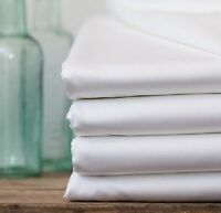 4 Pack King Size White Hotel Flat Sheet T200 Hotel Quality 108x110 on sale