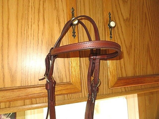 LEATHER HEADSTALL BRIDLE HORSE  CHESTNUT W  LEATHER SIDE CONCHOS  cheapest price