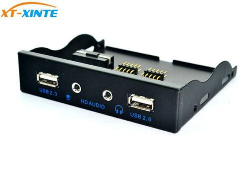 High Quality 3.5 9Pin to 2 USB PC Computer Card Reader 2.0 Hub Front Panel