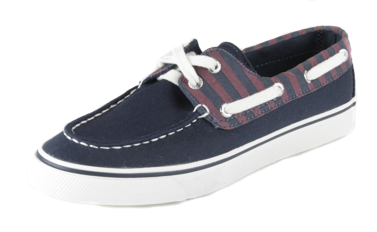 Sperry Women's Navy Burgundy Biscayne Stripe Canvas Boat shoes Ret  New
