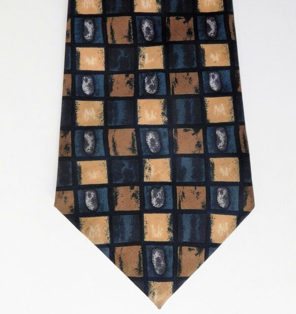 Burtons check tie teal black and beige vintage 1980s 1990s