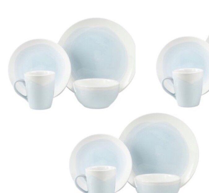Bleu Brushstroke Dinnerware Set 32 Piece DESSERT 8 Place Vaisselle Bols Tasses Assiettes