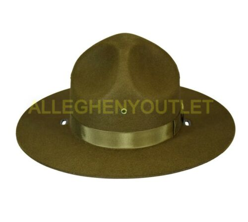 US Military USMC Felt Drill Sergeant Instructor Campaign Hat Brown Many Sizes GC