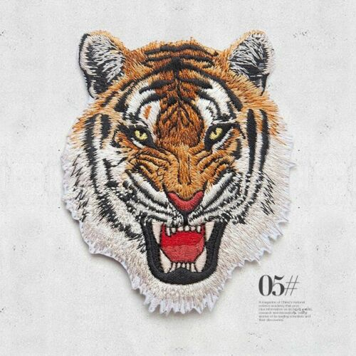Iron On Patches Leopard Tiger Lion Wolf Embroidery Applique DIY Clothes Sticker