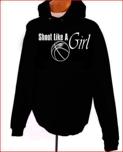 Shoot Like A Girl Basketball Girl Hoodie Black S-XL Adult Youth Sizes