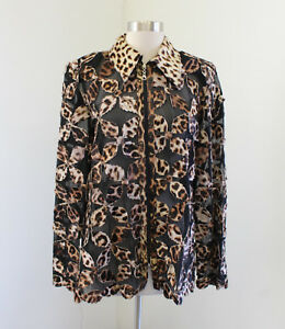 Image Leather Black Mesh Leopard Cow Hide Leather Zip Front Jacket Size XL