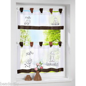 Details about 1PC Coffee Voile Embroidery Pattern Kitchen Curtains Door  Panel Tab Top Drape