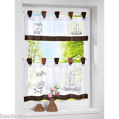 1PC Coffee Voile Embroidery Pattern Kitchen Curtains Door Panel Tab Top  Drape | eBay
