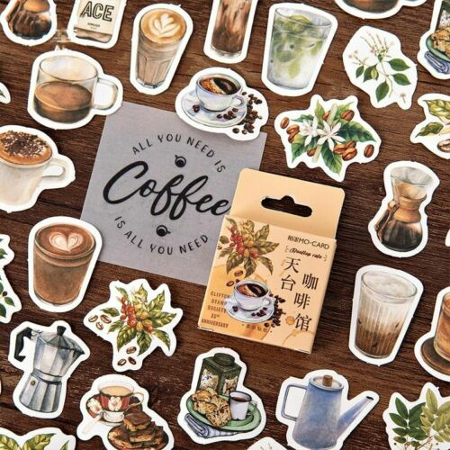 Coffee House Decorative Stickers Journal Bullet Stationery DIY Diary Album Decal