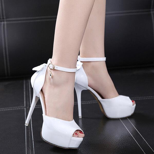 Seali stiletto decolte 14 cm bianco lucido pelle sintetica  eleganti 1238