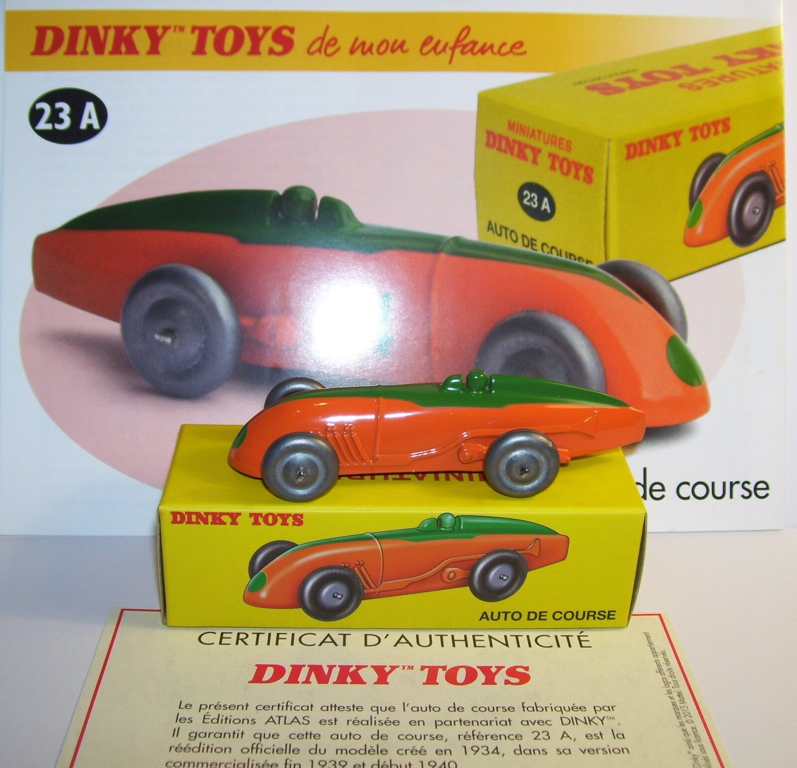DINKY TOYS ATLAS AUTO RACE MG 1934 BICOLOUR 1 43 REF 23A IN BOX