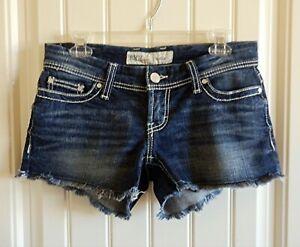 Buckle Bke Stella Mujer Elastizados Dobladillo Deshilachado Blue Jeans Pantalones Cortos Talle 27 Excelente Ebay