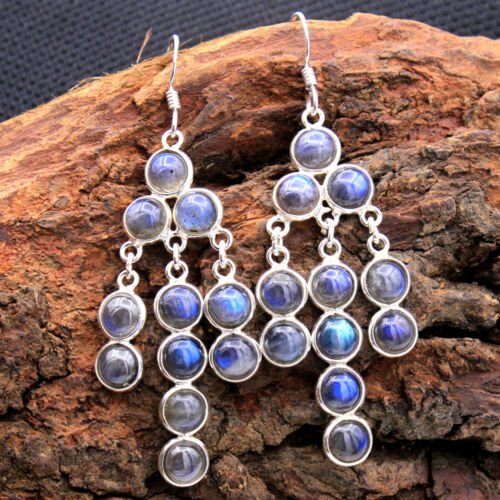 "Labradorite Gemstone 925 Sterling Silver Jewelry Long Dangle Boucles d/'oreilles 2.5/"""