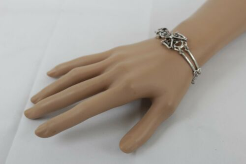 Women Silver Metal Bangle Bracelet Fashion Jewelry Skeleton Skull Red Bow Ribbon