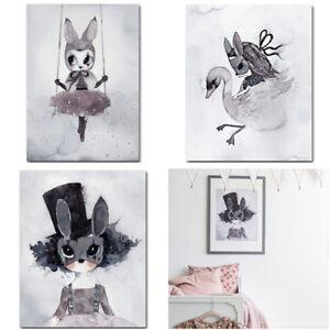 Kawaii-Cartoon-Lapin-Toile-Art-Prints-Poster-Photo-Kids-Nursery-Room-Decor