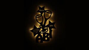 Details zu Holz Geschenk Abitur Abi zum Abschluss LED Lampe mit Namen  individuell personal