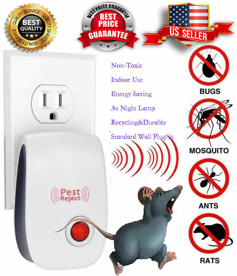 4Pack Pest Reject Pro Ultrasonic Repeller Home Bug Mites Spider Defender Roaches