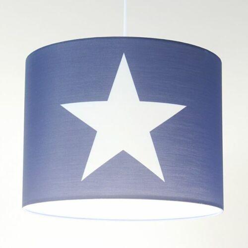 ROOMSTAR Hängelampe Blau mit Stern Lampenschirm mit Kabel und Aufhängung