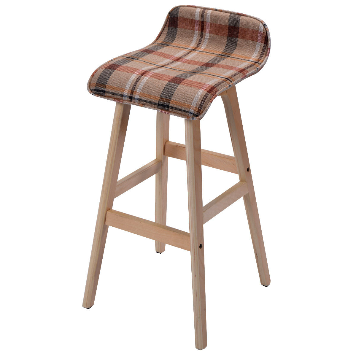 Us Round Wooden Linen Bar Stool Dining Counter Barstools
