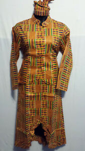 Women Clothing African Kente Print Ankara Dress Jaxket Set Suit M 36