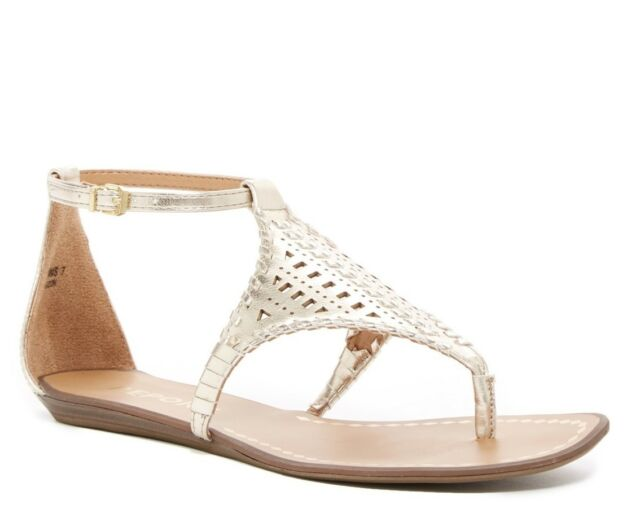 aec819a51e4a Women Report Ladon Gold Ankle Strap Gladiator-style Flat Thong Sandal Shoes  8