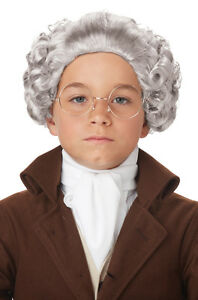 cac034f4bf2 Colonial Wig Men   Boy s Grey 18th Century Ponytail Style Synthetic ...