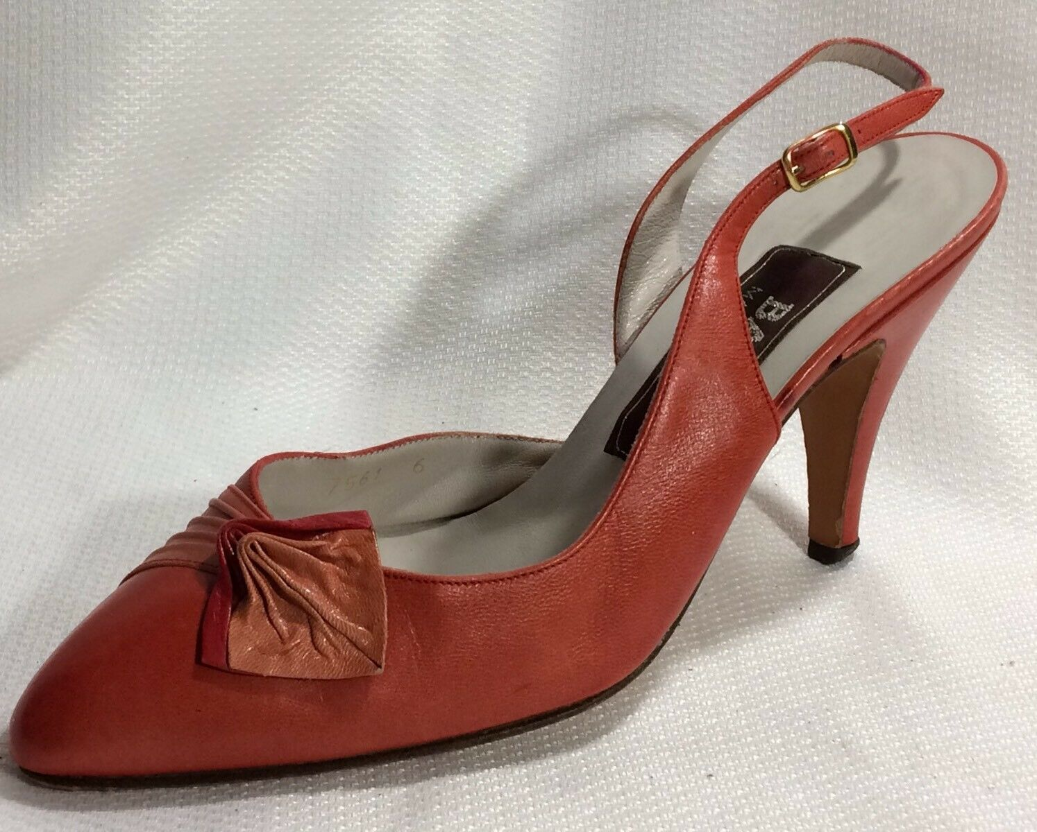 Bally  rouge Orange Leather Slingback Pump Heels femmes 6 M Pointed Toe chaussures