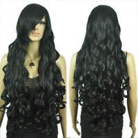 Extra Long Dark Black Ramp Bangs Wavy Curly Natural Looking Hair Full Wig