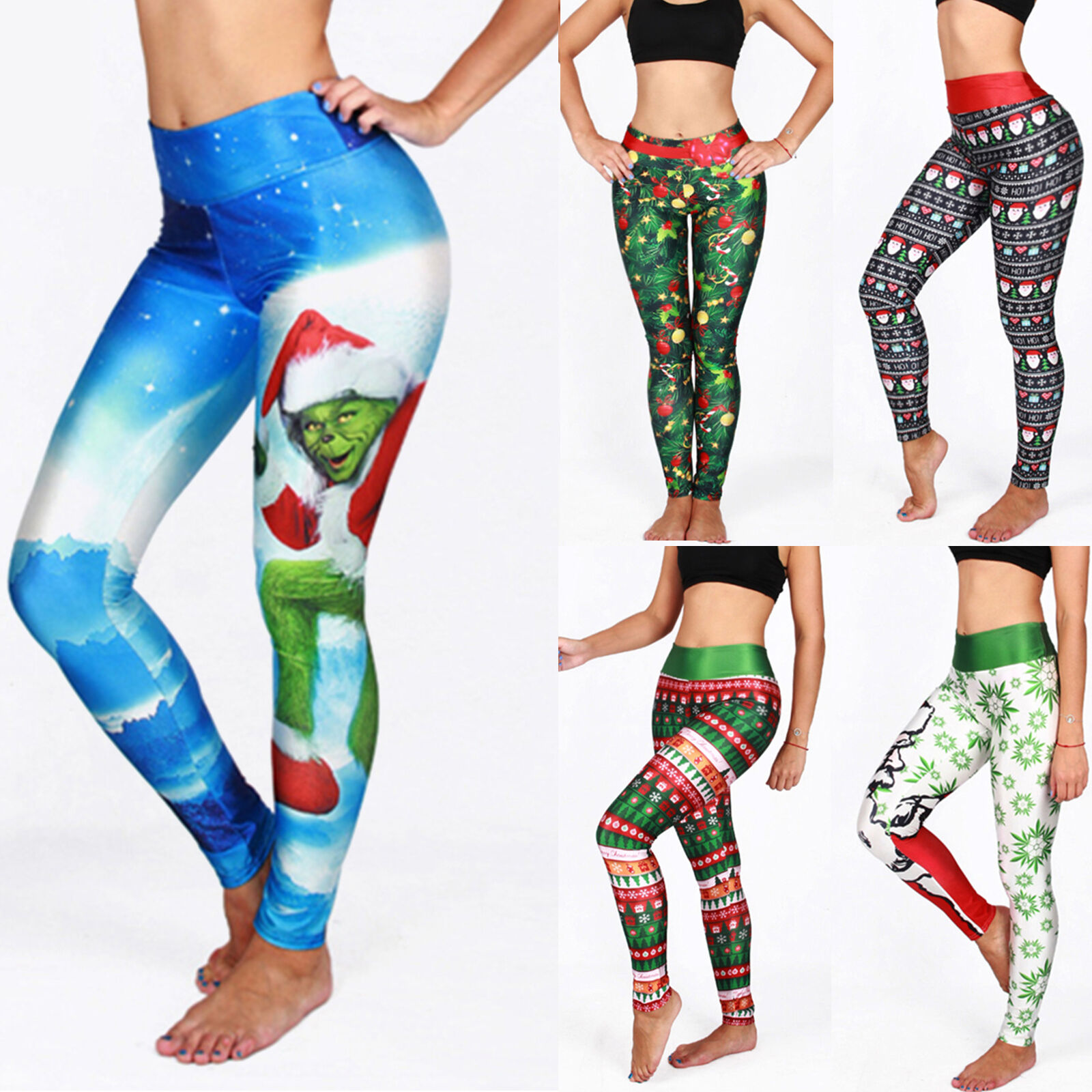1972664ef4d851 Womens Christmas Snowflake Leggings Winter Xmas Slim Skinny Stretch Pencil  Pants 6 6 of 10 ...