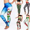 Womens Sports Yoga Fitness Pants 3D Xmas Printed Legging Stretchy Slim Trousers