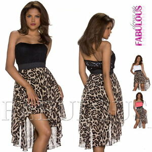 New-Sexy-High-Low-Strapless-Animal-Print-Lace-Dress-Padded-Size-6-8-10-XS-S-M
