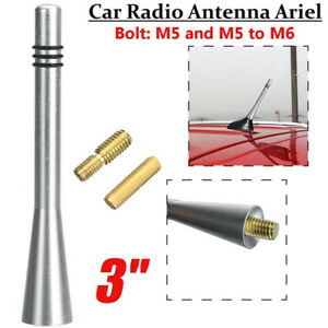 Chrome-Car-Auto-Short-Stubby-Antenna-Aerial-AM-FM-Radio-Mast-Screws-Universal