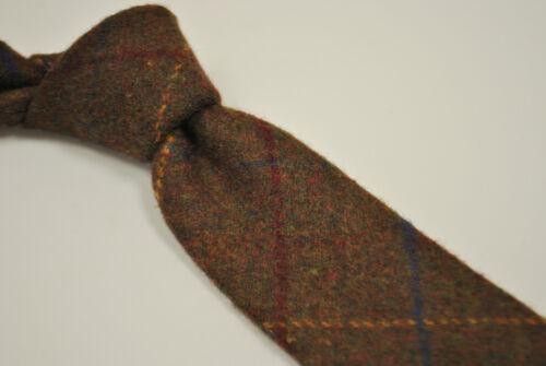 Blue Red Check Gold Brown Frederick Thomas Designer Tweed Wool Mens Tie