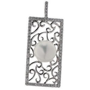 Damen-Anhaenger-echt-Silber-925-Sterlingsilber-rho-Zirkonia-und-Perle-weiss-4-8-cm