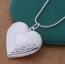"925 Sterling Silver Heart Locket Pendant Necklace Photo 18"" Snake Chain Gift Box"