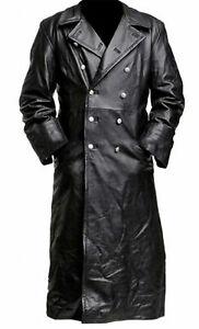 German-Military-WW2-Vintage-Jacket-Long-Black-Genuine-Leather-Trench-Coat-Men-039-s